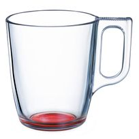 Luminarc - Mug en verre transparent fond coloré 25cl - Lot de 6 Crazy Colors - Rouge