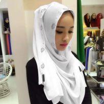 Strass en Mousseline de Soie Perle Caché Boucle Foulard Femme Nationalité  Style Foulard Hijab Foulard Musulman 1d7381a3d37
