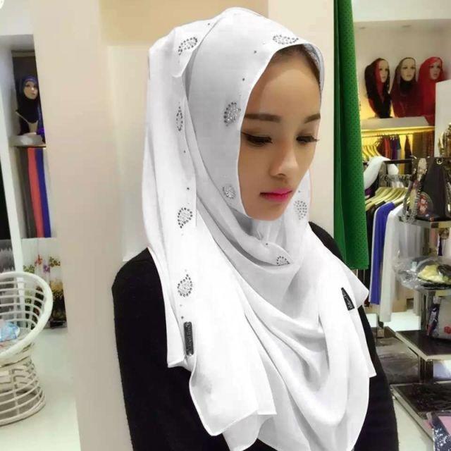 Wewoo - Strass en Mousseline de Soie Perle Caché Boucle Foulard Femme  Nationalité Style Foulard Hijab Foulard Musulman Blanc - pas cher Achat    Vente ... 95d4f35012f