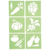 "Dtm - pochoir en plastique ""legumes"" - lot de 6"
