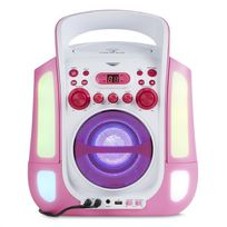 Kara Illumina Lecteur karaoké CD USB MP3 effets lumineux LED 2 micros ?rose
