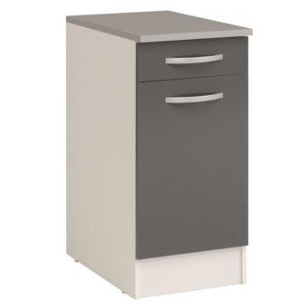 alin a eko cuisine meuble bas de cuisine gris 1 porte et 1 tiroir 40cm pas cher achat. Black Bedroom Furniture Sets. Home Design Ideas