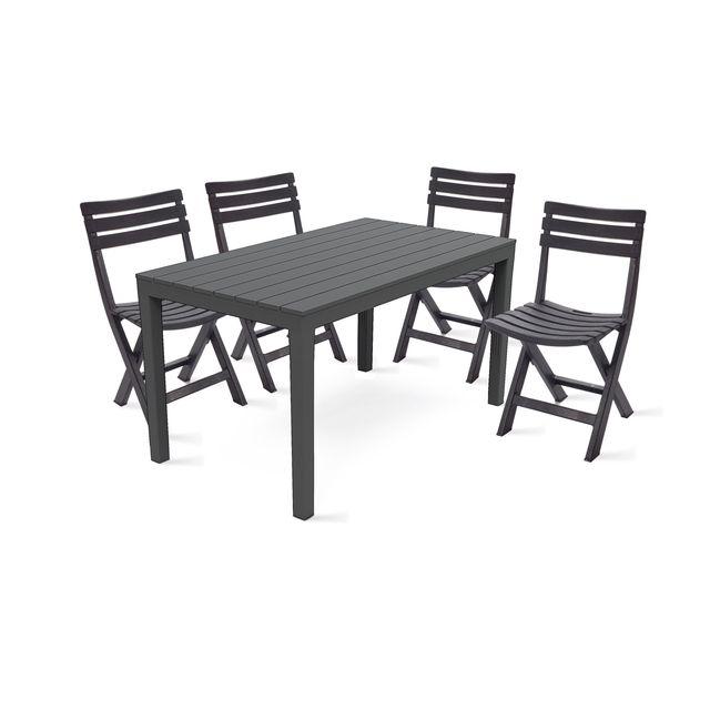 OVIALA - Table de jardin et 4 chaises pliantes en plastique ...