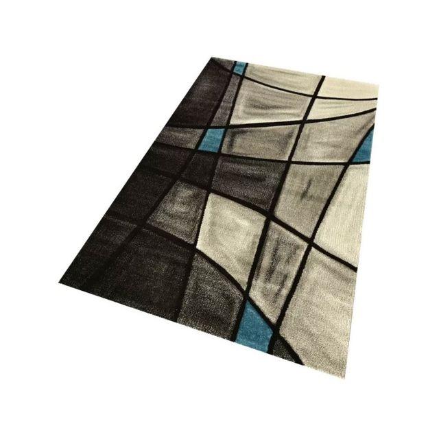 Alya tapis tapis de salon d co brillance design tendance gris et bleu 80 x 150 cm - Deco salon gris et bleu ...