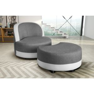 modern sofa fauteuil pouf gris blanc simili cuir pas. Black Bedroom Furniture Sets. Home Design Ideas
