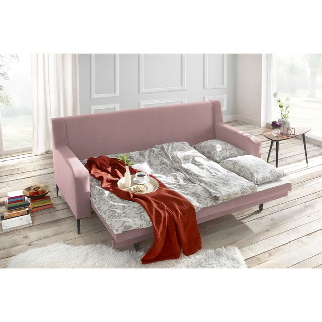 BOBOCHIC - Canapé BERGEN - 3 places - Convertible - Rose Poudré 222cm x 90cm x 92cm