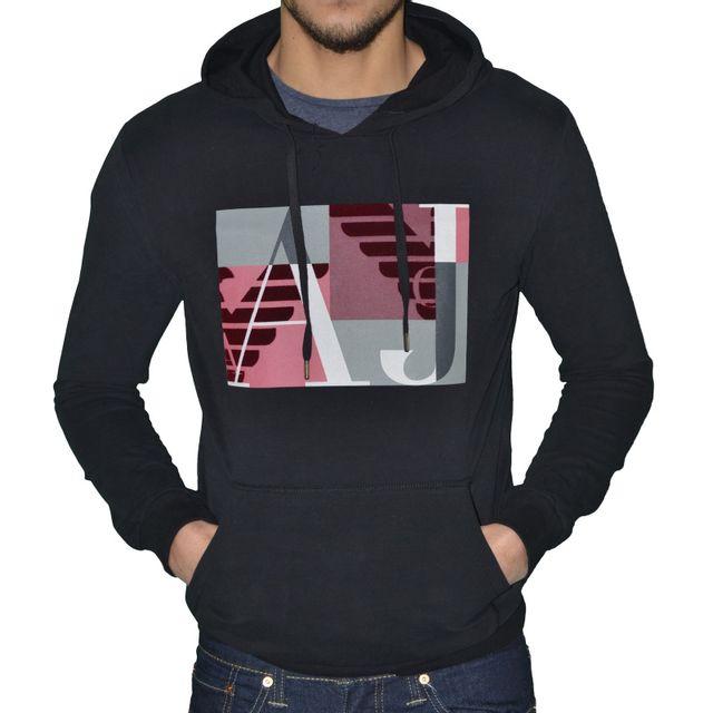 Armani - Armani Jeans - Sweat à Capuche - Homme - Sweat Rectangle Flock -  Noir 00dd0d33f252