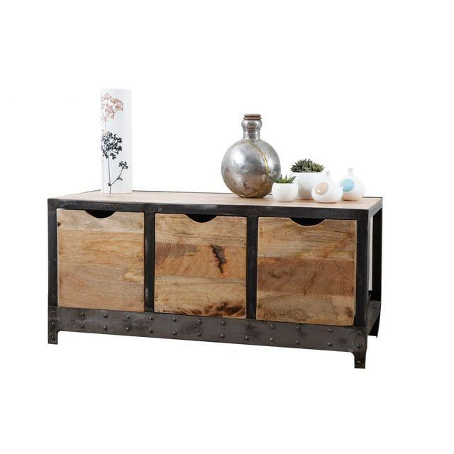 miliboo meuble rangement chaussures industriel bois massif et m tal atelier pas cher achat. Black Bedroom Furniture Sets. Home Design Ideas