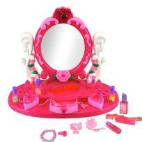 Touslescadeaux - Coiffeuse Enfant Fille - Lumineux et Sonore - Avec Miroir et Accessoires