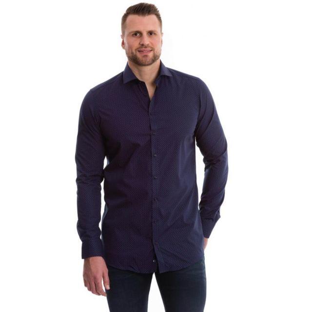 Venti Chemise bleu marine à motifs rouge