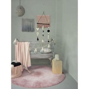 lorena canals tapis tie dye vintage rose et blanc rond en coton lavable pour chambre b b. Black Bedroom Furniture Sets. Home Design Ideas