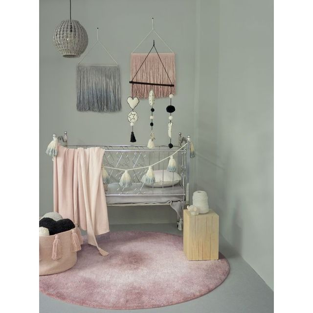 Lorena Canals - Tapis Tie-dye Vintage Rose et blanc rond en ...