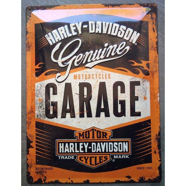 Universel Plaque harley davidson garage orange tole bombée emboutie