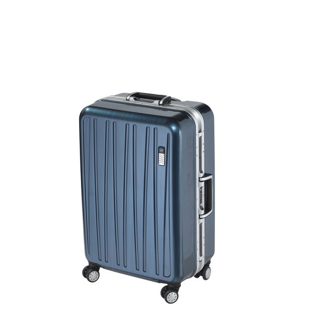 carrefour luxe valise polycarbonate 4 roues 67 cm bleu jy8237 pcluxe66na 65 3. Black Bedroom Furniture Sets. Home Design Ideas
