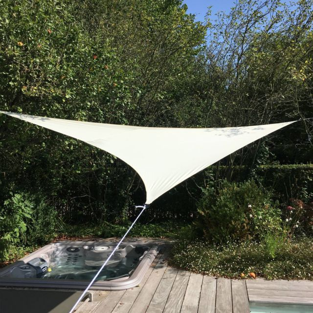 Alice'S Garden Voile d'ombrage triangulaire extensible Easywind 3,6 x 3,6 x 3,6m - Ecru - Anti Uv Upf 50
