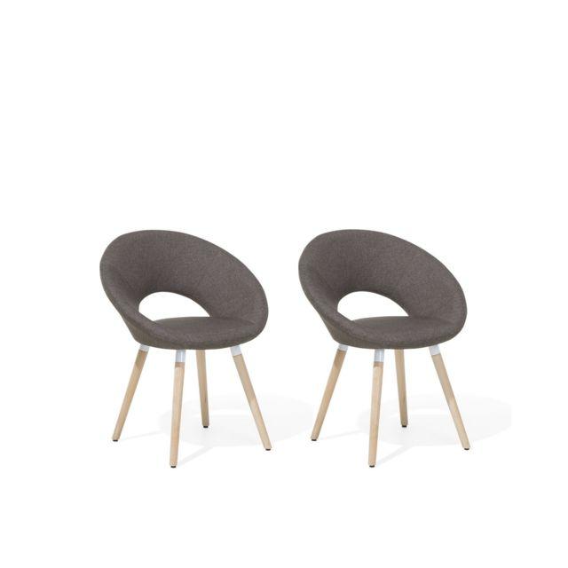 BELIANI Lot de 2 chaises design marron taupe ROSLYN - marron