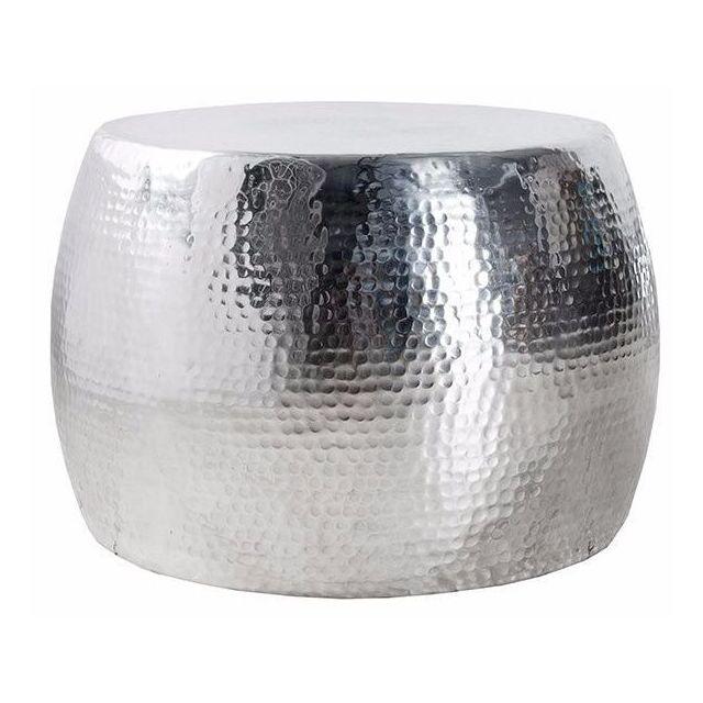 COMFORIUM Table basse ronde 60 cm en aluminium coloris argent