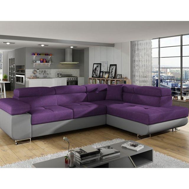 Nouvomeuble Canapé d'angle convertible en tissu violet avec coffre de rangement Willis 7