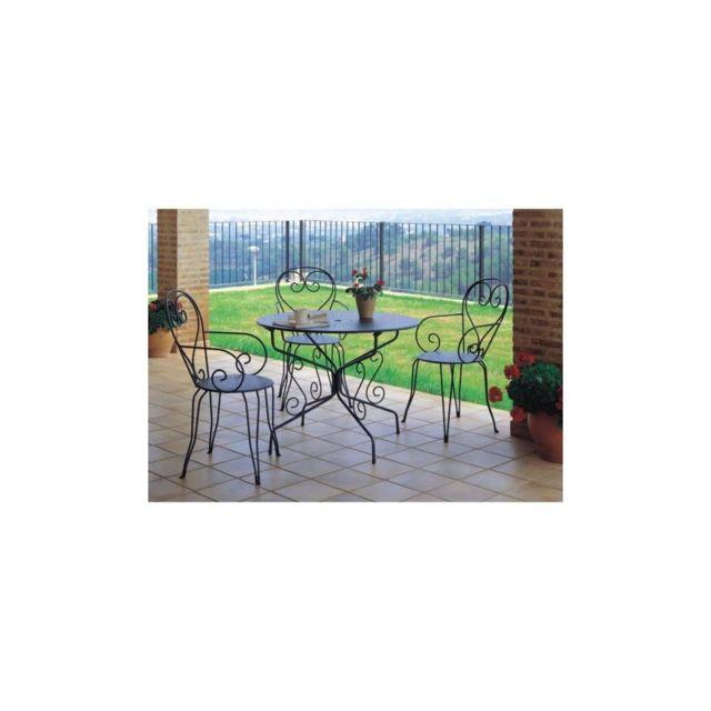 Sans Marque Lot De 4 Fauteuils De Jardin Romantique Empilable En Fer Forge - Vert