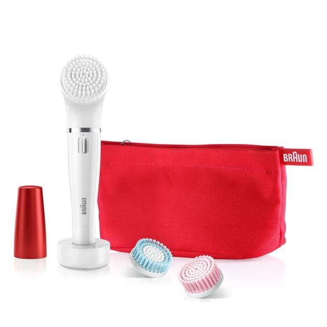BRAUN Coffret cadeau coup d'éclat épilateur facial face SE852 rouge + brosse nettoyante visage Le premier épilateur visage et système à brosse de nettoyage au monde. Offrez un éclat incomparable à votre visage