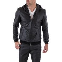 Napp Jeans - Blouson Hanson hood leather jacket black zz