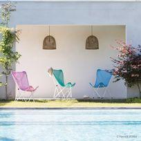 Lafuma - Fauteuil de jardin dossier haut pliant en acier et toile Sun Glam Batyline Maxi Pop Up