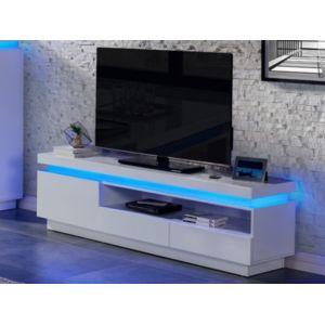 marque generique meuble tv emerson 1 porte 2 tiroirs mdf laqu blanc leds pas cher. Black Bedroom Furniture Sets. Home Design Ideas