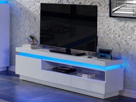 Marque Generique Meuble Tv Emerson - 1 porte & 2 tiroirs - Mdf laqué blanc - Leds