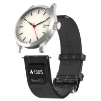 Ct Band - Simpli Ct by Rifft - Bracelet de montre connecté mixte - 21mm en cuir noir