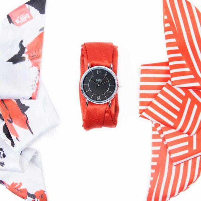 Bill'S Watch Montre Trend avec Bracelet foulard satin Red - Bill's watches