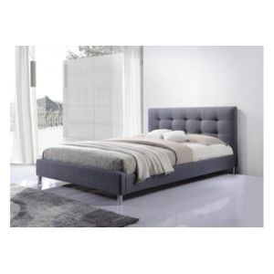 declikdeco lit gris 160 en tissu avec t te de lit capitonn e eva 160cm x 200cm pas cher. Black Bedroom Furniture Sets. Home Design Ideas