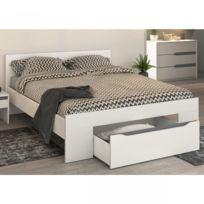 terre de nuit lit tiroir blanc 160x200 lt4000 - Cadre De Lit Avec Rangement 160x200