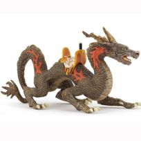 Papo - Figurine Dragon de feu avec selle : Brun