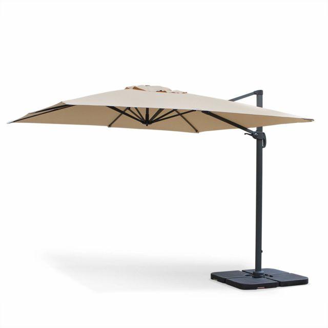 alice 39 s garden parasol d port carr 3 x 3m haut de gamme falgos beige parasol excentr. Black Bedroom Furniture Sets. Home Design Ideas