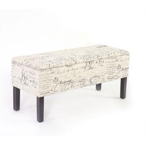mendler banc coffre de rangement renens 95x36x44 tissu motif criture beige 95cm x 36cm. Black Bedroom Furniture Sets. Home Design Ideas