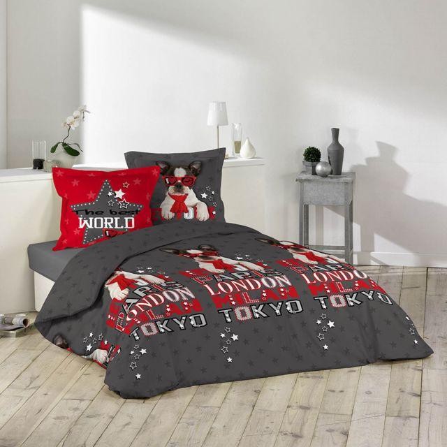 sans marque housse de couette 220 x 240 cm taies chien touriste pas cher achat vente. Black Bedroom Furniture Sets. Home Design Ideas