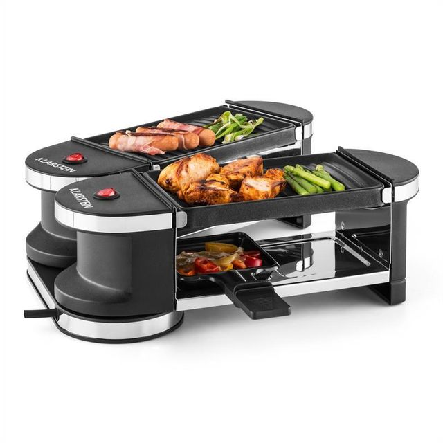 KLARSTEIN Tenderloin Minigrill- raclette 600W 360° 2 plaques grill