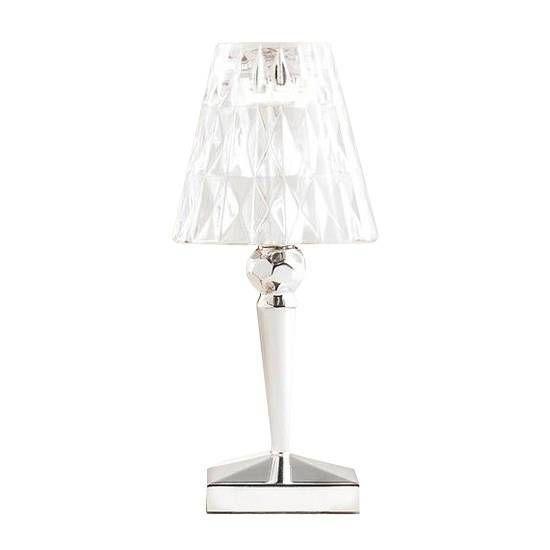 Kartell Battery - Lampe à poser Led d'extérieur rechargeable Chrome/Transparent H22cm - Lampe à poser designé par Ferruccio Lavi