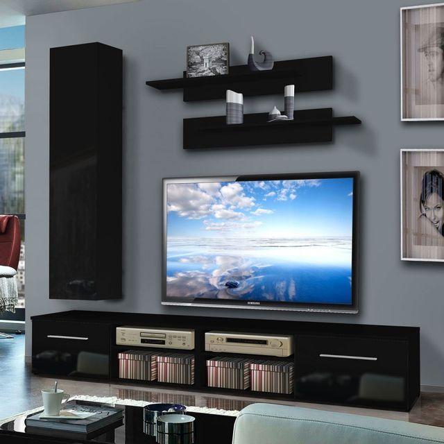 paris prix meuble tv mural invento iv 240cm noir pas cher achat vente meubles tv hi fi. Black Bedroom Furniture Sets. Home Design Ideas