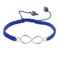 Les Poulettes Bijoux - Bracelet Argent Infini Lien Tréssé Bleu