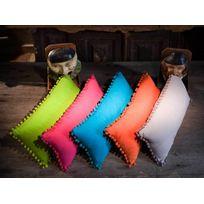 Home Stories - Coussin rectangulaire à pompons 100% coton 25x50cm Bouly