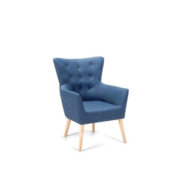 BELIANI Fauteuil en tissu bleu ANGEN - bleu foncé