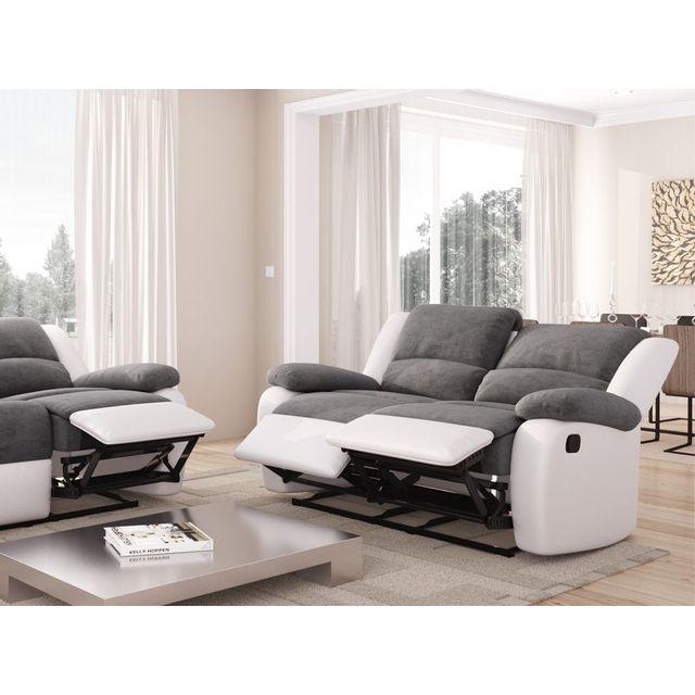 Canapé relaxation UsineStreet Canapé relaxation detente 2 places microfibre  grise   simili cuir blanc - Comparer les prix sur Shopoonet aa02b65cfbd4