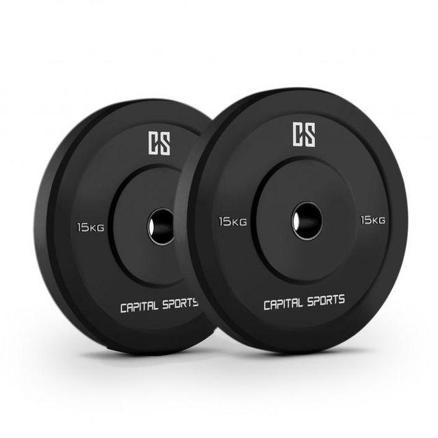 CAPITAL SPORTS - Elongate 15 Disque pour haltère Disque poids Caoutchouc 2x 15kg