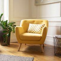 idmarket fauteuil scandinave en tissu jaune moutarde - Fauteuil Jaune Scandinave
