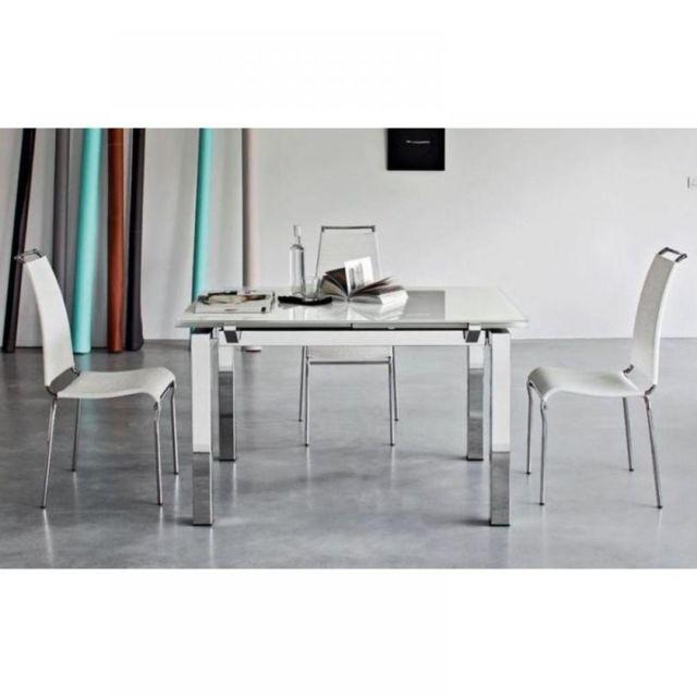 Inside 75 Table repas extensible Airport 130x90 plateau verre blanc piétement acier chromé