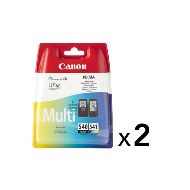 CANON Lot de 2 x Multipack PG-540/CL-541 - Noir, Cyan, Magenta, Jaune