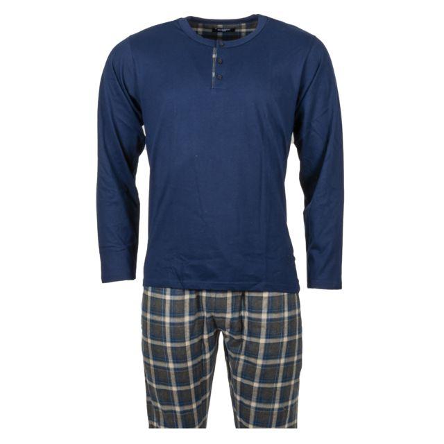 Guasch Pyjama long en coton bleu marine et pantalon bleu marine à carreaux beiges