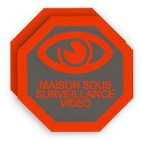 Cfp Securite - Stick-6 - Deux autocollants dissuasifs vidéo surveillance pour portail