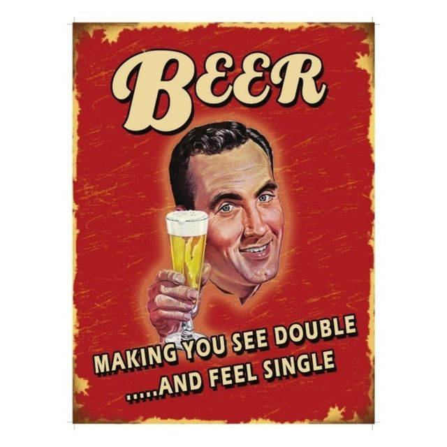 Universel Plaque cuisine beer making you see double tole humoristique